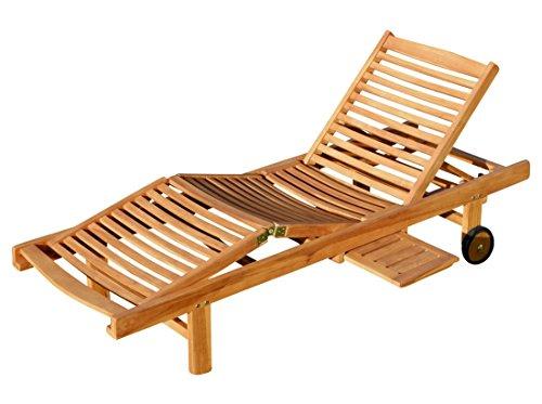 ASS ECHT Teak Sonnenliege Gartenliege Strandliege Holzliege Holz vielfach verstellbar mit Tisch sehr robust Modell: JAV-Cozy von