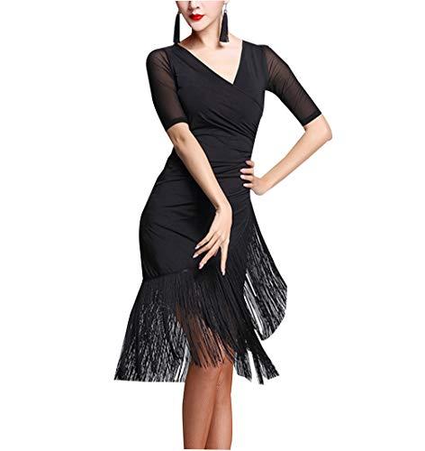 Kostüm Tango Tanz - Weibliches Kleid Lateinischer Tanz Quaste - Tango Cha Cha Rumba Durchgeführt Kostüme Ballsaal Kurze Ärmel Rock Anzeigen L