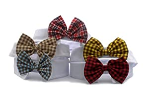 Namsan Style de Petit Chiens Chats Chiot Animaux Bow Tie Cravate Angleterre 6 couleurs (rouge profond, rouge, bleu, caf¨¦, jaune)