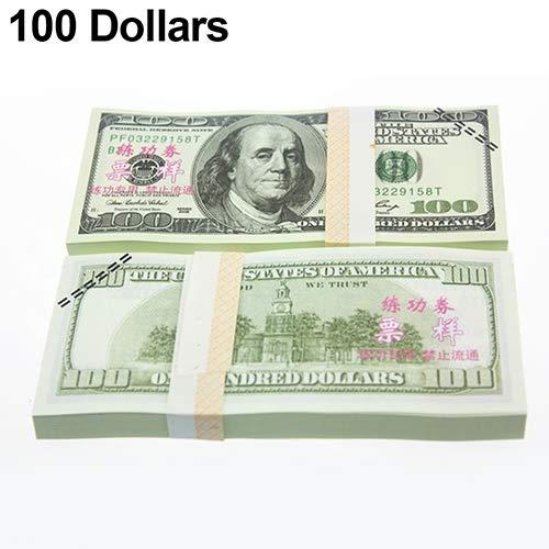 Lsgepavilion 100 Stück Spielzeug EUR US-Dollar Banknoten Banknoten Banknoten Banknoten Banknoten-Tool, 1#, 100 Dollars