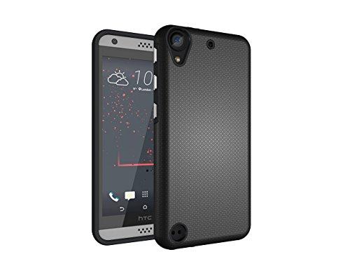 HTC Desire 530 / 630 Hülle, Heavy Duty Blume Harte Rüstung Anti-Kratzer PU Silikon Handyhülle Dual Layer Stoßfest Etui Shockproof Case Cover Kompletter Schutz Tasche Schutzhülle für HTC Desire 530 / 630 (Schwarz)