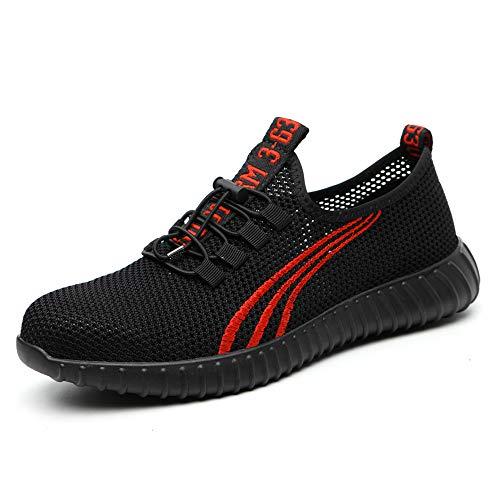 ZOEASHLEY Sicherheitsschuhe Herren Damen Arbeitsschuhe S3 Leicht Stahlkappe Sneaker, Schwarz-c, 36 EU