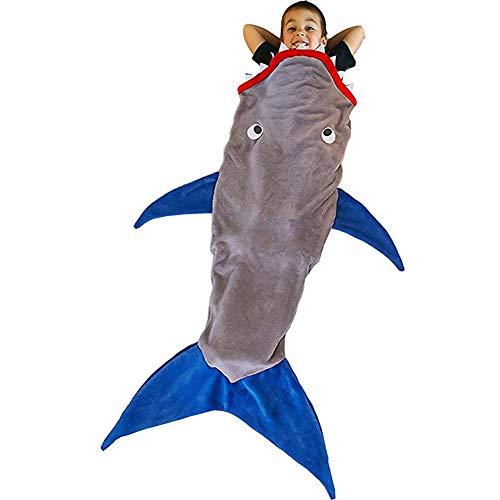 Outtybrave Bambini Cartoon Sleep Bag, Doppio Strato Shark Morbido Velluto Sonno Coperta 150–175cm per Bambini