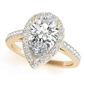 Damen-Ring Verlobungsring 1,50 Karat Gold 18 Karat (750) Moissanit Birnenschliff massiv Weiß Gelb Rose echt 14 Karat Gold gestempelt Größe O P K J H G N M L Q