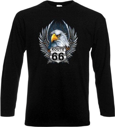 Herren Langarm-Shirt ::: Route Sixty-Six with Eagle ::: für echte Biker Schwarz