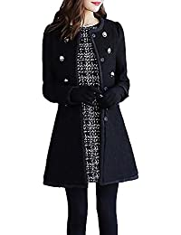 be157fade8a71 TITAP S-2XL Womens Winter Lapel Woolen Coat Trench Jacket Button Overcoat  Solid Color Outwear