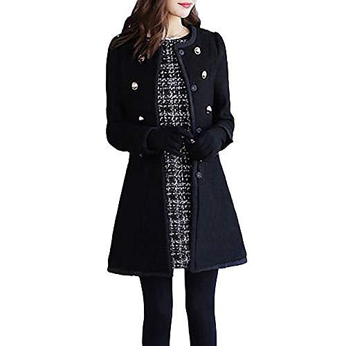 ESAILQ Frauen Outwear Revers Trench Parka Mantel Jacke Mantel stilvoll(Small,Schwarz) - Reverse-plissee Hose