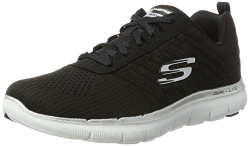 Skechers Women's Flex Appeal 2.0 Break Free Multisport Outdoor Shoes, Black/White, 5...