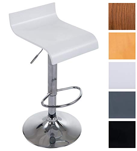 CLP Taburete de Bar Wood con Asiento de Madera I Taburete Alto Regulable en Altura& Giratorio I Color: Blanco