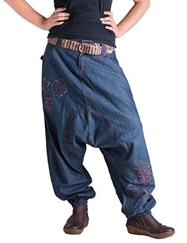 Vishes – Alternative Bekleidung – Jeans Haremshose mit Patchwork-Blumen Blau 36 (Blaue Jeans-patchwork)