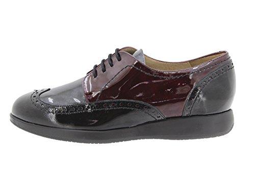 Chaussure femme confort en cuir Piesanto 9630 lacet confortables amples Negro-Gris-Burdeos