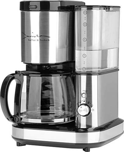 Barista Filter-Kaffee-Maschine aus Edelstahl mit Mahlwerk   inkl. Glas-Kanne für bis zu 10 Tassen Cafe Crema [Wasser-Behälter 1,2 Liter / 800 Watt ]