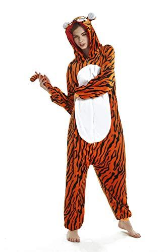 FMDD Tier Cosplay Kostüm Einhorn Cosplay Kostüm Onesie Pyjamas Erwachsene Halloween Cosplay Kostüm (Tiger, L(Höhe 168-177 - Tiger Kostüm Halloween