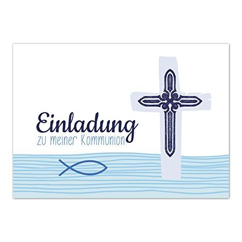 15 x Einladungskarten Kommunion mit Umschlag / Blaue, moderne Karte / Kommunionskarten / Einladungen zur Feier