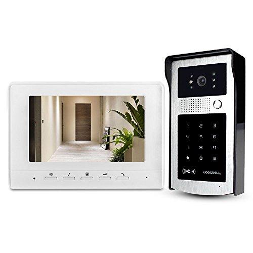 LIBO 7 Zoll Weitwinkel Video Türsprechanlage Türklingel Intercom System 1-Monitor mit 1-Kamera regendichter Außenkamera IR-Nachtsicht mit 125KHz RFID-Schlüssel-Karten Home Intercom-systeme
