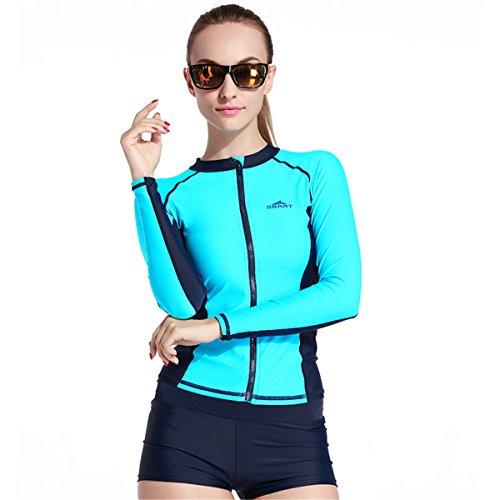 SBART Herren Damen Upf 50+ Langarm Rash Guard Reißverschluss Shirt Bademode Surf Tauchen Schnorcheln Schwimmen Tops (Damen Blau, Large)