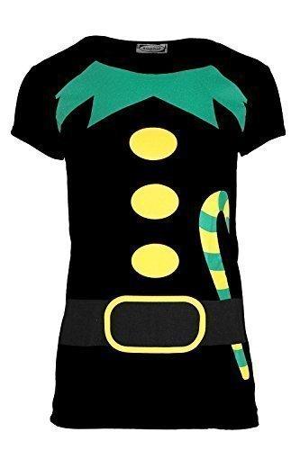 Damen Weihnachten T-shirt Damen Langärmlig Weihnachten Weihnachtsmann Kostüm Jerseykleid Top - Elfen Candy Klebe Flügelärmel Schwarz, S/M (UK (Candy Kostüme M&m)