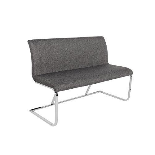 Elegante Design Sitzbank HAMPTON grau 130cm mit Rückenlehne Strukturstoff