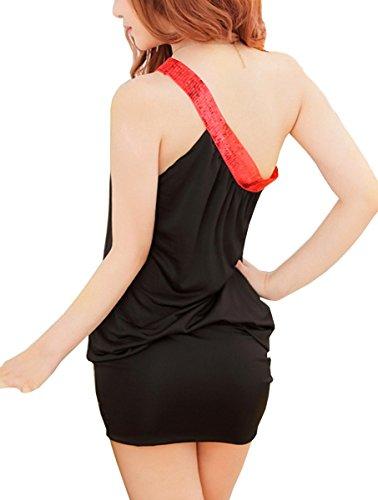 Dissa® simple sexy épaule Lingerie, Chemise de nuit, noir Noir
