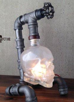 t Bar im modernen minimalistischen Outdoor retro Industrial wind Schädel flasche wein Lampen ()