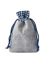 12 Filz-Säckchen, Filzbeutel mit Baumwollbordüre, Größe 20x12cm, Geschenkverpackung, Dekoration, Deko für Oktoberfest und Naturmaterialien (blau)
