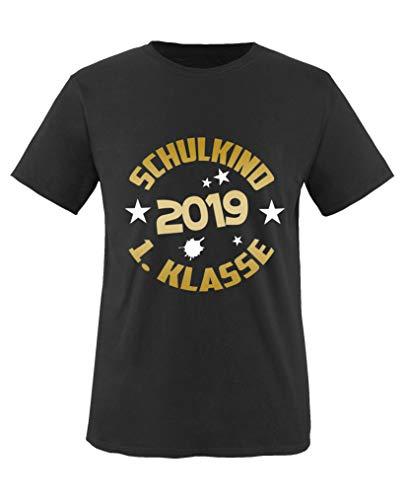 Comedy Shirts - Schulkind 2019 1. Klasse - Jungen T-Shirt - Schwarz/Gold-Weiss Gr. 134/146
