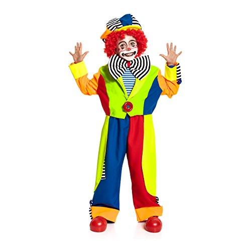 Clown Kind Harlekin Kostüm - Kostümplanet® Clown-Kostüm für Kinder mit Clown-Mütze und Fliege Größe: 152, Faschings-Verkleidung Karnevals-Kostüm - Jungen Clowns-Kostüm