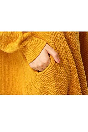 MatchLife Damen Rundhals Strickpullover Langarm Top Art 1-Gelb