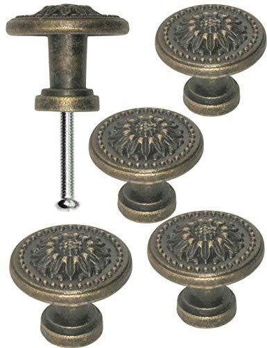 FUXXER® - 4x Griffe Antik Knöpfe | Landhaus Vintage Design Bronze Messing Möbel Küche Buffet | 25 x 22 mm | Sun, 4er Set -