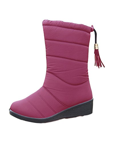 Minetom Mujer Otoño Invierno Cálido Peluche Forrada Botas Impermeable Antideslizante Plataforma Cuña Zapatos Con Suela B Borgoña EU 38
