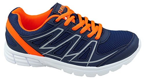 gibra, Sneaker donna blu scuro / arancio