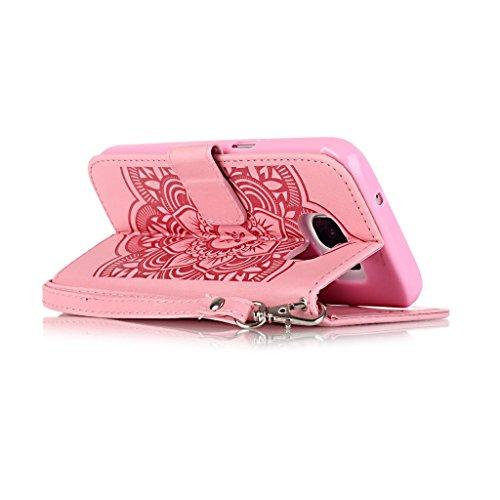 Uming® Embossing Traumfänger Campanula Blume Muster Druck PU Kasten Fall Holster Abdeckung Hülle Case ( White-Pink - für IPhone6SPlus IPhone 6SPlus 6Plus IPhone6Plus ) Artificial Künstlich Flip mit Br Pink