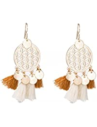 JustPeachy Hanging Off White- Brown Two Tone Shaded Gorgeous Filigiree Tassels Earrings, Latest Style