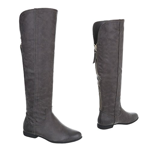 Overknees Damenschuhe Overknees Blockabsatz Blockabsatz Reißverschluss Ital-Design Stiefel Grau 047-PG