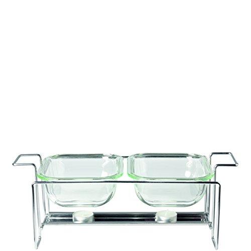 Leonardo 034309 Set 3-teilig Glas Auflaufformen Gusto 15 x 20 cm mit Ständer