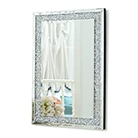 RICHTOP Wall Mirror Large Frameless Bevelled Rectangle Wall Mounted Mirrors with Glitter Diamond Hung for Living Room, Bedrooms, Hall, Hallway 60 X 90 CM