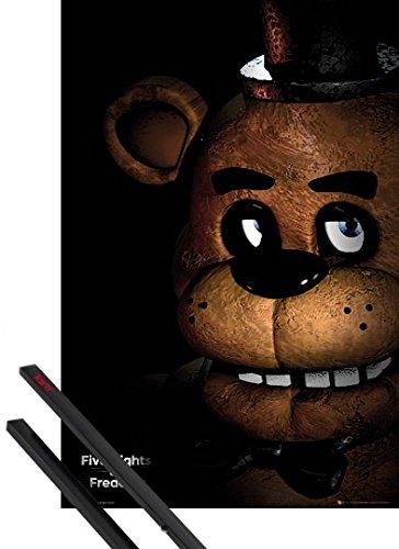 Poster + Sospensione : Five Nights at Freddy's Poster Stampa (91x61 cm) Fazbear E Coppia Di Barre Porta Poster Nere 1art1®