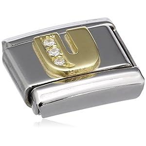 Nomination Comp. Classic BUCHST. Edelstahl, 18K-Gold und Cubic Zirc. (U) 030301