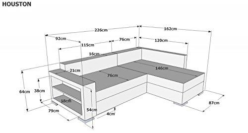 Sofa Couch Ecksofa Houston Schlaffunktion Schlafsofa schwarz/grau Eckcouch - 2