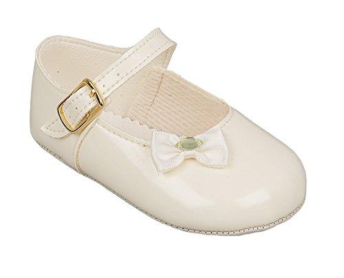 Baypods Luxus-Briten Machte Babymädchen Creme/Ivory Weißen Schnalle Ankle Strap Blume Stil Besonderen Anlässen Hochzeiten Taufe Schuhe (Größe 0 (0-3 Monate), Creme/Ivory) (Elfenbein-blumen-mädchen-schuhe)
