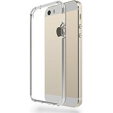 Funda iPhone SE / 5S / 5 - AZorm PRISM - Gel de Silicona TPU, Fina, Flexible, Transparente, Resistente a los arañazos en su parte trasera, Amortigua los golpes, Antideslizante - PROTECTOR DE PANTALLA HD, VIENE CON PAÑO LIMPIADOR DE MICROFIBRA - funda protectora anti-golpes para Apple iPhone 5, iPhone 5S, iPhone SE