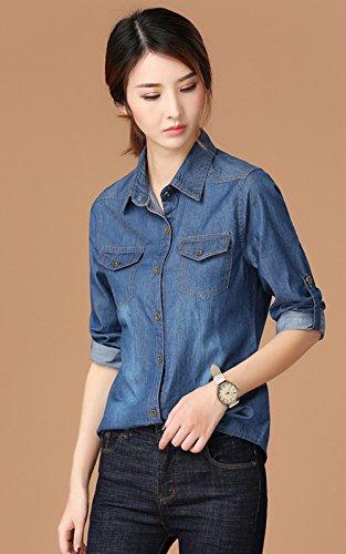 Blansdi Femmes élégant Retro Col Revers Manches Longues Chemise Décontractée Veste En Jean Manteau Jean-Coat Casual Blouse Outwear Bleu Bleu