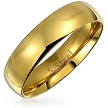Bling Jewelry Boda Ajuste Confort Banda de 5 mm de Acero Inoxidable Chapado en Oro.