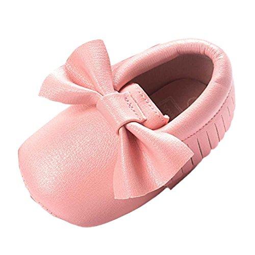 Turnschuhe Babyschuhe Neugeborenen Solekleinkind Mädchen Tanzschuhe Leder T-Strap Schuhe Lauflernschuhe Mädchen Krabbelschuhe Streifen-beiläufige Wanderschuhe LMMVP (Rosa, 12 (6~12 Monate))