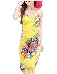 Livina Yellow Sexy Sling Beach Wear Dress Sarong Bikini Cover-ups Wrap Flower Swimwear