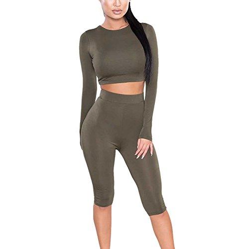 BOBORA Donna Crop Top+Pants Outfit Yoga Workout Jogging Suits