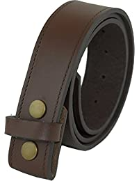 "Real Leather Press Stud Belt 40mm wide for Jeans etc. (Lge 36""- 40"", Brown)"
