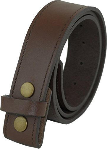 Ossi Ashford canto de cuero real de 40mm de botón de presión broche de presión en la correa en marrón (112cm - 122cm cintura)
