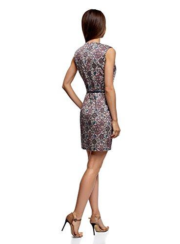 oodji Ultra Damen Tailliertes Basic-Kleid mit Gürtel Rosa (4175E)