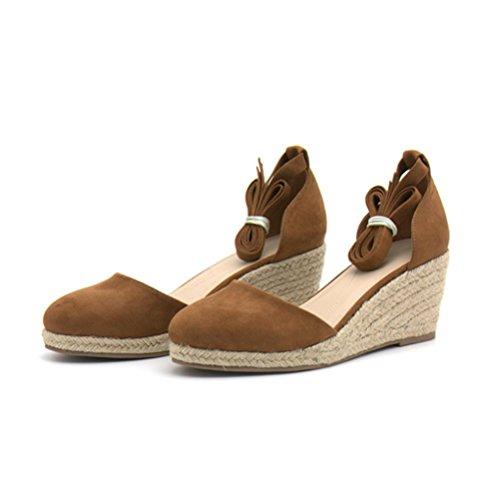 QPYC Le signore Tallone di pendenza sandali corda di canapa Cannuccia Tessitura Cinghie incrociate Fondo spesso Tempo libero Sandali tacco alto romano brown